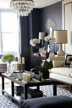 dark gray living room | Pretty...love the dark grey walls. | Living Rooms