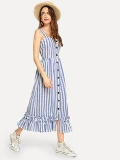 34 Summer Stripe Dress Ideas 2019 - Design patterns go back and forth however a noteworthy pattern that has not lost its appeal is striped dresses. Striped Party Dresses, Striped Shirt Dress, Ruffle Dress, Linen Dresses, Cotton Dresses, Maxi Dresses, Blue Dresses, Simple Dresses, Casual Dresses