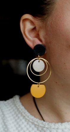 Diy Clay Earrings, Polymer Clay Earrings, Earrings Handmade, Hoop Earrings, Do It Yourself Jewelry, Brown Earrings, Minimalist Earrings, Making Ideas, Statement Earrings