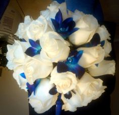 """White Roses & Blue Orchid bouquet These Flowers look Beautiful together =D and they have some Bling Bling! """"For my wife"""""""