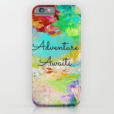 ADVENTURE AWAITS Wanderlust Typography Explore Summer Nature Rainbow Abstract Fine Art Painting iPhone & iPod Case