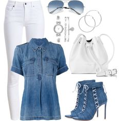 Untitled #1435 by gallant81 on Polyvore featuring Equipment, Barbour, Oscar Tiye, Lancaster, Anne Klein, Melissa Odabash and Ray-Ban
