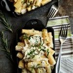 Mac & cheese with roasted chicken, goat cheese, & rosemary... via My Baking Addiction. I want to try this right now!