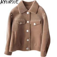 2979c68ad52 Sheep Shearling Jackets Short 2018 Winter Jacket Women Real Wool Coats  Women s Fur Coat PU Leather