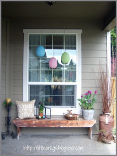 spring porch decor with bench