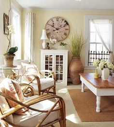 This is the color we used in our living room (custom by Sherwin Williams) Pale yellow with natural neutrals - FRENCH COUNTRY COTTAGE: A Room Full of Sunshine~ Inspirations
