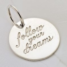 Palas Pendant Charm - FOLLOW YOUR DREAMS - Sterling Silver.  A reminder to yourself? Or a wish for someone you care for?  Wear this pendant on its own or combine it with a cluster of other Palas pieces to create your own story.