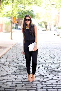 20 Beautiful Black Jumpsuits glamhere.com Stylish Clothes, Stylish Outfits, Black Jumpsuit, Street Styles, Jumpsuits, Chic, Beautiful, Fashion, Dapper Clothing