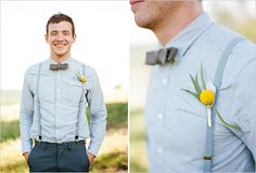 Great monochromatic groom's attire with a pop of yellow!  Photo:  Austin Gros Photography