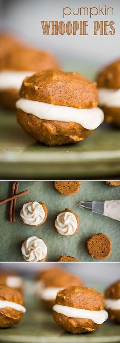 Pumpkin Whoopie Pies, made with super soft homemade pumpkin cookies and maple cream cheese filling, are the perfect fall two-bite dessert!