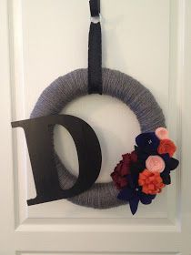 """~ I'M NOT MESSY... I'M JUST BUSY ~: I'm 1 Proud Craft """"Mom""""... Fall Initial Yarn Wreath by Jodi"""