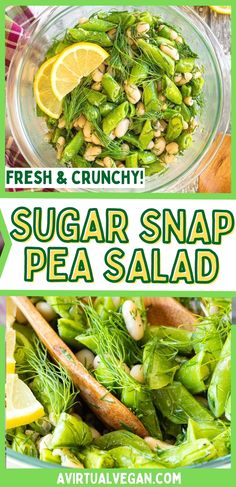 Fresh, vibrant, crunchy and delicious Sugar Snap Pea Salad with a fresh and zingy lemon, mustard, garlic vinaigrette. This vegan salad makes a great warm-weather side or light meal. Salad Recipes Gluten Free, Vegetarian Salad Recipes, Summer Salad Recipes, Real Food Recipes, Vegan Recipes, Watermelon Mint Salad, Snap Pea Salad, New Recipes For Dinner, Clean Eating Salads