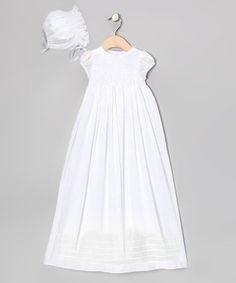 Look at this #zulilyfind! White Honeycomb Smocked Christening Dress & Bonnet - Infant #zulilyfinds