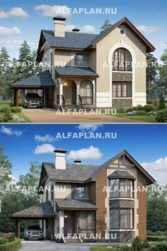 2 Storey House Design, Facade House, House Front, Home Renovation, Sims, Arch, Exterior, Cabin, How To Plan