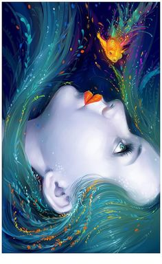 Mermaid art - digital art by nguyen thanh nhan Art And Illustration, Fantasy Kunst, Fantasy Art, Fantasy Books, Digital Portrait, Digital Art, Art Amour, Mermaids And Mermen, Inspiration Art