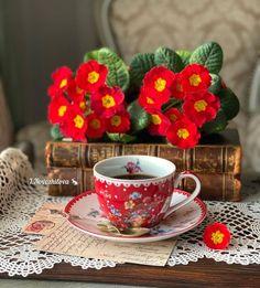 Pastel, Coffee Time, Tea Cups, Mugs, Tableware, Flowers, Style, Cake, Dinnerware