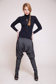 Women harem pants, Drop-crotch pants, women trousers, black jeans pants, chic pants   sizes : XS / S / M / L / XL