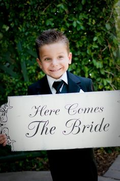 Here Comes The BRIDE Wedding Signs Flower Girls Ring Bearers DOUBLE Sided - TheWeddingMile.com