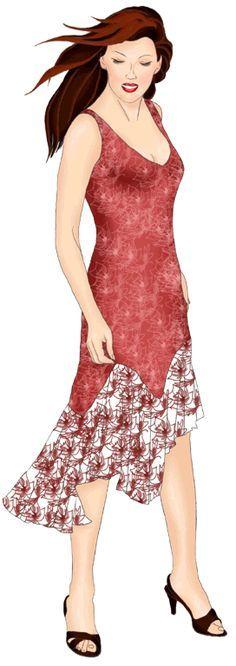 Free Pattern Sz. S-XL - High-Low Sleeveless Dress (I love the solid+print)