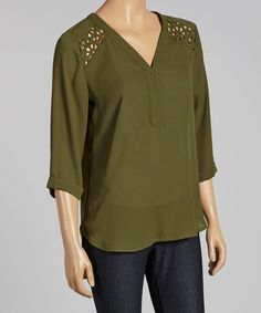 Take a look at this Olive Eyelet Cutout Hi-Low Top by Destiny Made in the USA on #zulily today! $22 !!
