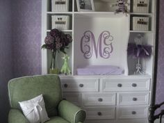 Purple and Grey Baby Room.