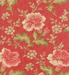 Moda Blackbird Designs Floral Autumn Lily Rosy Red