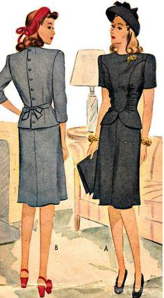 1940s Vintage Peplum Dress Pattern  McCALL 5396  1943 Two-Piece Peplum Dress  Shirred Bodice  Bust 32 di ShellMakeYouFlip su Etsy https://www.etsy.com/it/listing/207316888/1940s-vintage-peplum-dress-pattern