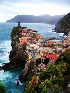 Edge of the Sea, Vernazza, Italy. This is one of the towns that make up the 5 towns of the Cinque Terre region. Italy Vacation, Vacation Spots, Italy Travel, Travel List, Places To Travel, Places To See, Travel Destinations, Places Around The World, Around The Worlds