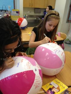 "from-student-to-teacher:  Fantastic idea! As an end of the year gift buy students beach-balls, they collect classmates signatures.. they have a ""ball""!"