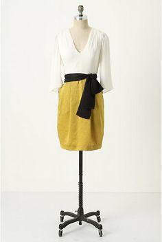 Anthropologie dress, mustard, navy, white.