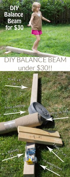 Balance Beam: Kids must walk across the beam without falling. This is the real reason for a little time and money to make this DIY balance beam for the girls. Gymnastics At Home, Gymnastics Equipment, Gymnastics Workout, Gymnastics Party, Olympic Gymnastics, Gymnastics Supplies, Gymnastics Stretches, Gymnastics Clothes, Gymnastics Tricks