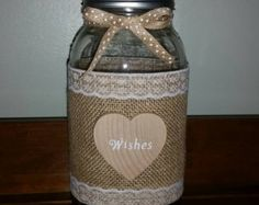Burlap & Lace Mason Jars by TheBreadBarn on Etsy Wine Bottle Crafts, Mason Jar Crafts, Mason Jar Diy, Bottle Art, Bottles And Jars, Glass Jars, Half Gallon Mason Jars, Lace Mason Jars, Jar Art