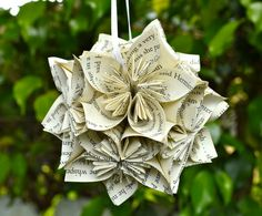 This GCD piece is a small decorative paper flower pomander ball that I handmade from upcycled Harry Potter book!    I hand fold each pomander