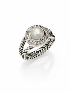 David Yurman Pearl, Diamond & Sterling Silver Ring