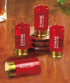 Shot Gun Shell Shot Glasses look like ammo from a gun. The impact-proof plastic shot glass sits in a metal base. Every shot glass holds 2 ounces. Presents For Him, Gifts For Him, Diy Glitter Glasses, Just Wine, Ltd Commodities, Lakeside Collection, Shot Glasses, Boyfriend Gifts, Alcohol