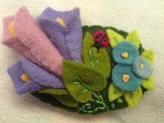Handmade hair clip felt flowers and ladybug by BestlaChan on Etsy