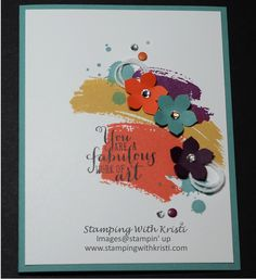"www.stampingwithkristi My new card using all the new 'in-colors"" and Work of Art stamp set from Stampin Up."