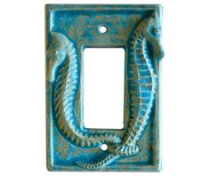 Ceramic Light Switch Cover Seahorses Single by HoneybeeCeramics, $20.00