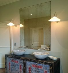 Bathrooms - Mirrorworks Antique Mirror Glass from MirrorWorks Antique Mirror Splashback, Antique Mirror Glass, Suffolk House, Bathrooms, Kitchens, Barn, Antiques, Home Decor, Antiquities
