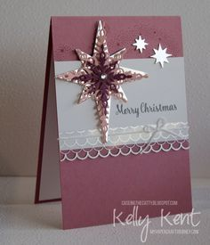 CASEing the Catty - Big Shot. Starlight Thinlits & Star of Light stamp… Christmas Cards 2018, Homemade Christmas Cards, Christmas Star, Homemade Cards, Handmade Christmas, Holiday Cards, Stampin Up, Star Cards, Stamping Up Cards