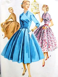 1950s Glam Surplice Dress Pattern McCalls 3390 Beautiful Day or Cocktail  Party Dress Box Pleated Full Skirt  Bust 36 Vintage Sewing Pattern FACTORY FOLDED