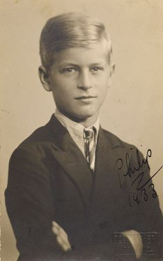 Prince Philip, 1933 - In 1930, at the age of eight, Prince Philip came to Britain to attend Cheam School in Surrey. He lived partly with his maternal grandmother (Princess Louis of Battenberg; from 1917 Marchioness of Milford Haven) in Kensington Palace, and partly with his uncle, the 2nd Marquess of Milford Haven, at Lynden Manor near Maidenhead. This photograph was taken in 1933, shortly before Prince Philip left Cheam.
