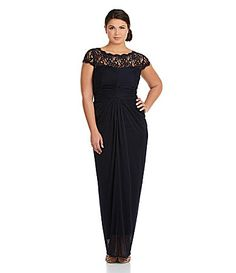 d957daf7733 Adrianna Papell Woman LaceYoke Gown  Dillards Military Ball Dresses