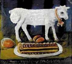 Oil painting reproduction: Niko Pirosmani A Paschal Lamb 1914 - Artisoo.com