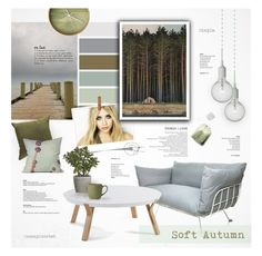 """""""Soft Autumn: Tranquility"""" by nyrvelli ❤ liked on Polyvore featuring interior, interiors, interior design, home, home decor, interior decorating, Olsen, Surya, Dot & Bo and Muuto"""