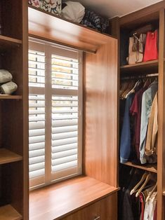 Full height shutters with a louvre for both light and privacy. Bedroom Shutters, Wooden Shutters, Blinds, Louvre, Goals, Curtains, Closet, Home Decor, Wood Shutters