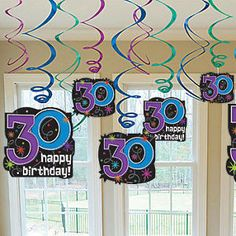 Happy 30th Birthday Swirl Decorations | 12 ct
