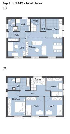 Grundrisse Stadtvilla modern mit Pultdach-Architektur - 6 Zimmer, Grundriss Erdgeschoss Küche offen, Treppe gewendelt, Obergeschoss 3 Kinder - Einfamilienhaus Top Star S 145 Hanlo Haus Fertighaus - HausbauDirekt.de