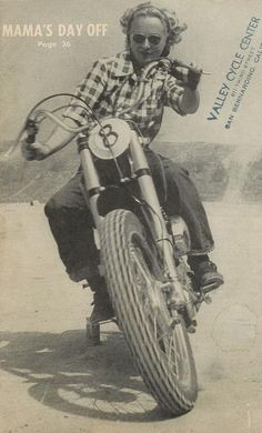 Valley Cycle Center - Old Staged Motorcycle Photo - Classic Lady Rider