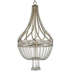Dazzling strands of beaded crystal line a wrought iron frame, swirling about the column of the lavish Ingénue Chandelier. Below, shapely crystal drops and swags complete the classic empire style. A Chinois Antique Silver Leaf finish brings out the sparkle in this cosmopolitan design.  Material: Wrought Iron/Crystal Finish: Chinois Antique Silver Leaf